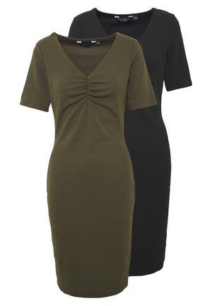 2 PACK - Shift dress - khaki/black