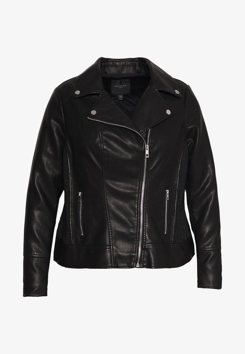 Forever New Curve - GLAM BIKER JACKET - Faux leather jacket - black