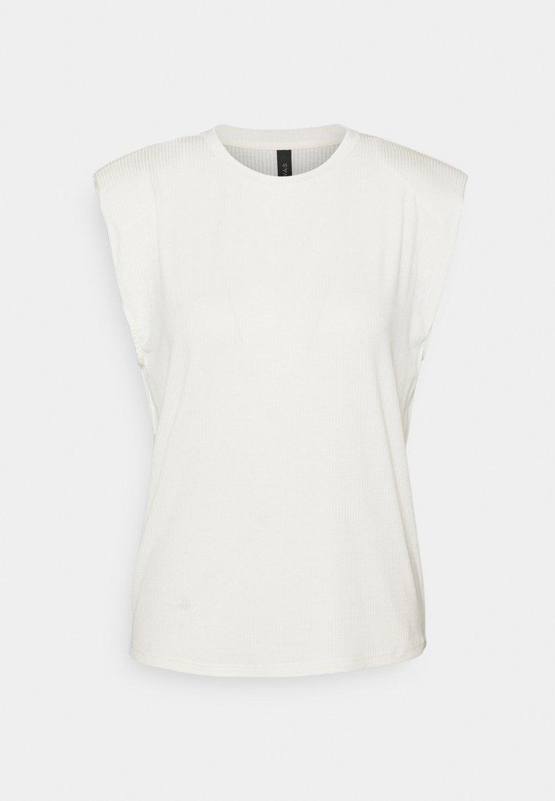 YAS Tall - YASELLE PADDED SHOULDER  - T-shirt basic - eggnog