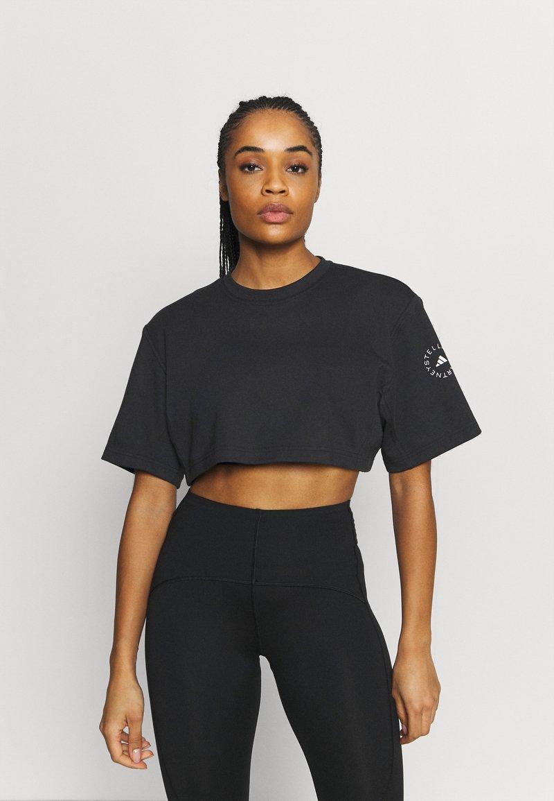 adidas by Stella McCartney - CROP TEE - T-shirt print - black