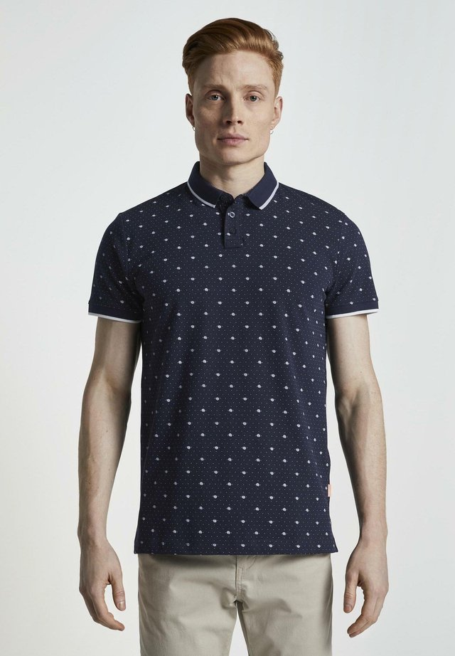 ALLOVER-PRINT - Polo - navy mini palm leaf dot print