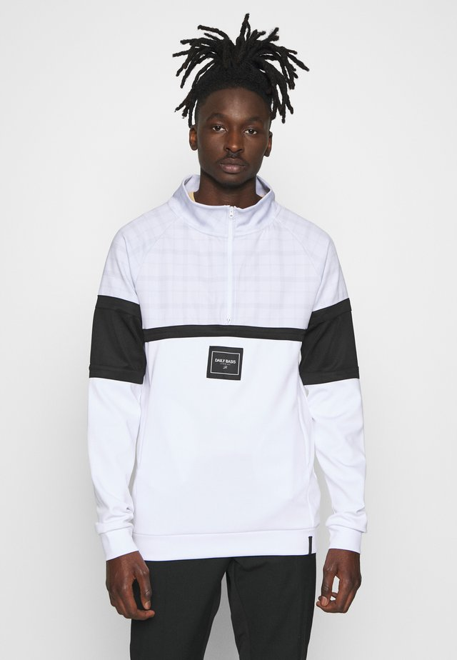 DAILY BASIS FUNNEL NECK HOODIE IN TECH CHECK - Sweatshirts - white