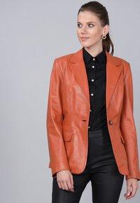 Basics and More - Leather jacket - orange - 3
