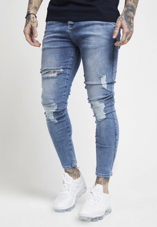 SIKSILK DISTRESSED SUPER - Jeansy Skinny Fit - mid wash denim/niebieski denim Odzież Męska COIB