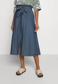 Pieces - PCELSA SKIRT - A-line skirt - dark blue denim - 0