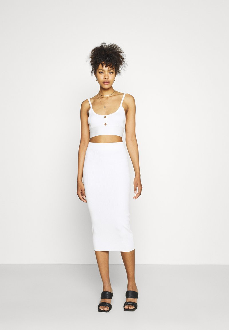Missguided - BUTTON TIE BACK CAMI SKIRT SET - Top - white