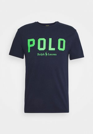 Print T-shirt - french navy/neon green