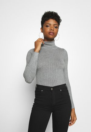 BODYSUIT- TURTLE NECK RIBBED - Strikkegenser - mid grey melange