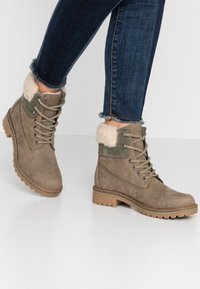 Pier One - Šněrovací kotníkové boty - khaki - 0