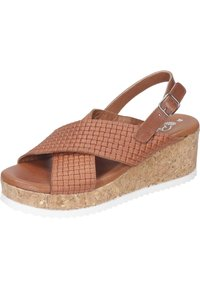 Piazza - Wedge sandals - cognac - 1