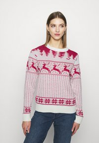 Vila - VICOMET CHRISTMAS - Jumper - snow white/red - 0