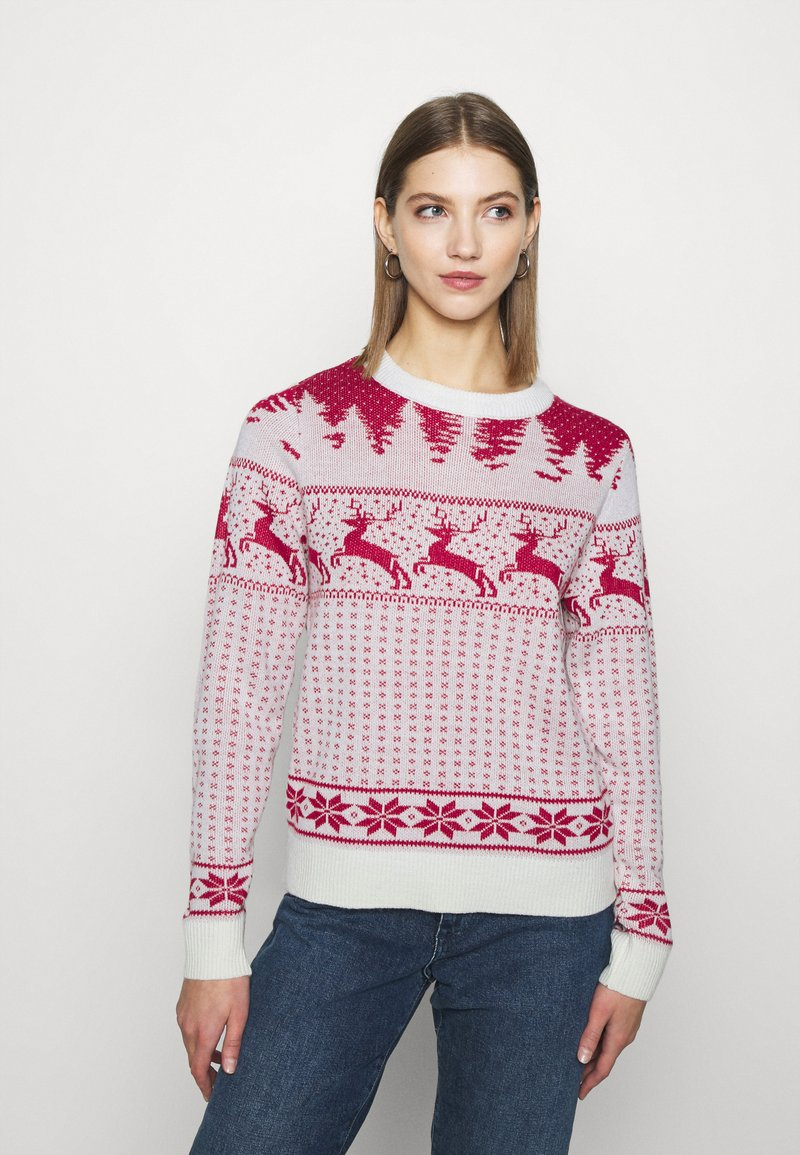 Vila - VICOMET CHRISTMAS - Jumper - snow white/red