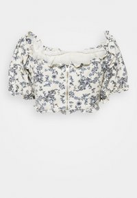 Missguided Petite - FLORAL SQUARE PUFF SLEEVE - Blusa - white - 1