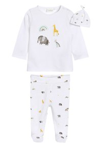 Next - WHITE GOTS ORGANIC THREE PIECE LEGGINGS, T-SHIRT AND HAT SET (0- - Hat - white - 0