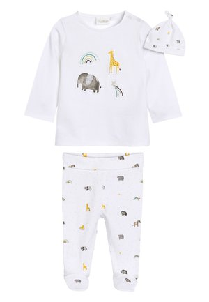 WHITE GOTS ORGANIC THREE PIECE LEGGINGS, T-SHIRT AND HAT SET (0- - Leggings - Trousers - white