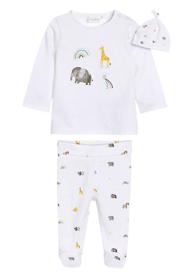 WHITE GOTS ORGANIC THREE PIECE LEGGINGS, T-SHIRT AND HAT SET (0- - Hat - white