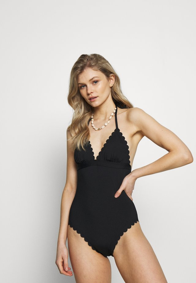 SWIMSUIT YOUNG SCALLOP - Badeanzug - black