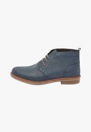 WAXY FINISH - Lace-up ankle boots - blue