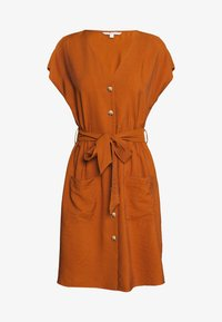 TOM TAILOR DENIM - MINI UTILITY DRESS - Shirt dress - mango brown - 0
