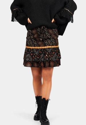 A-line skirt - aztek print - black