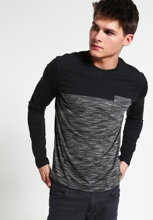 Langærmede T-shirts - mottled grey/black