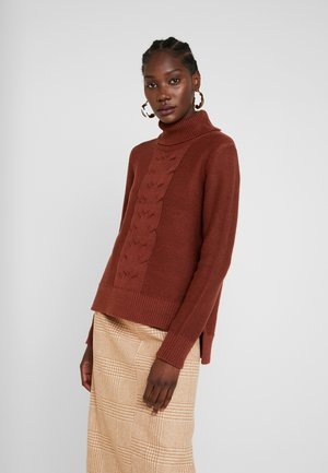 CABLE ROLL NECK - Jumper - rust brown