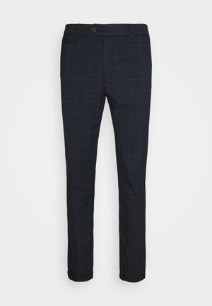 COMO CHECK SUIT PANTS - Pantalones - dark navy/light grey melange