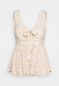 American Eagle - PRINTED LACEUP BABYDOLL - Camicetta - white - 0