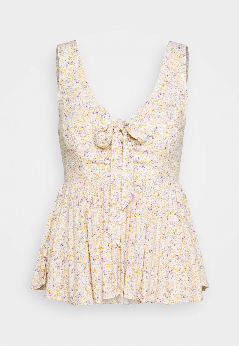 American Eagle - PRINTED LACEUP BABYDOLL - Camicetta - white