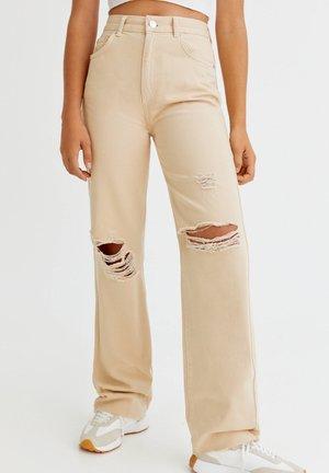 Straight leg -farkut - mottled beige