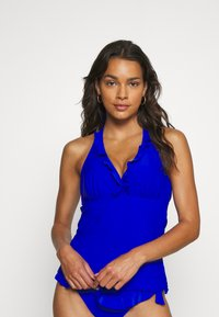 Pour Moi - SPLASH FRILL UNDERWIRED HALTER TANKINI - Bikini top - blue - 0