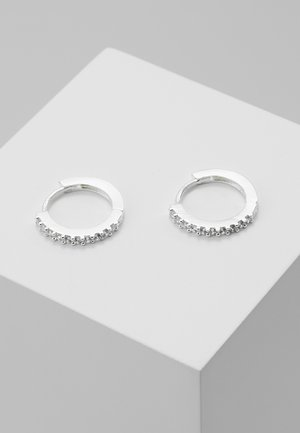 MINI PAVE HOOP EARRINGS - Øreringe - silver-coloured