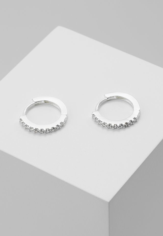 MINI PAVE HOOP EARRINGS - Earrings - silver-coloured
