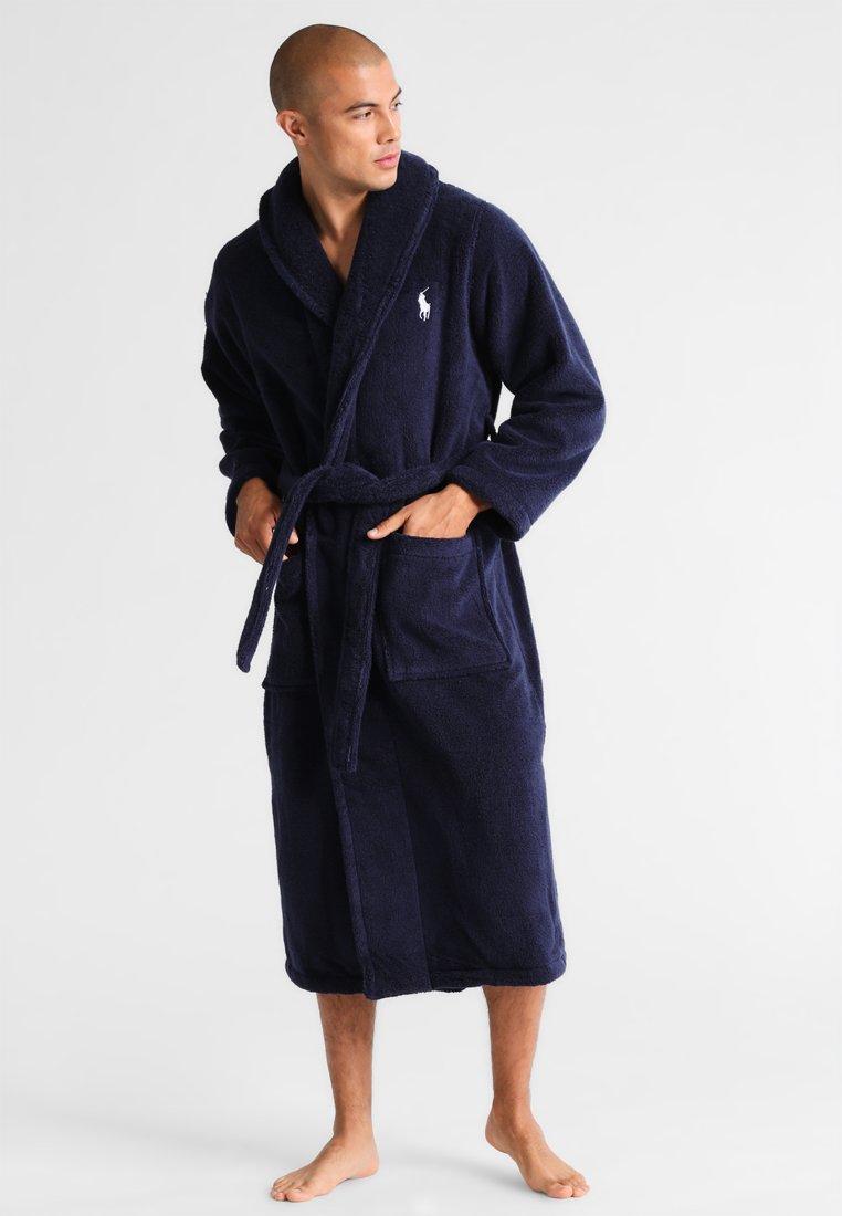 Polo Ralph Lauren Soft Terry Dressing Gown Cruise Navy Dark Blue Zalando Co Uk
