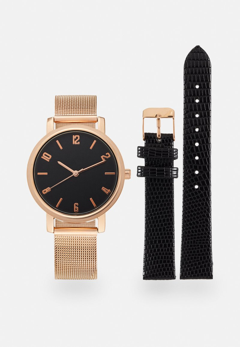 Anna Field - SET - Watch - black/rose gold-coloured