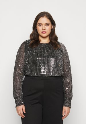 SEQUIN SHIRRED CUFF - Long sleeved top - black