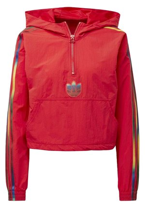 ADICOLOR HALF-ZIP CROP TOP - Zip-up hoodie - red