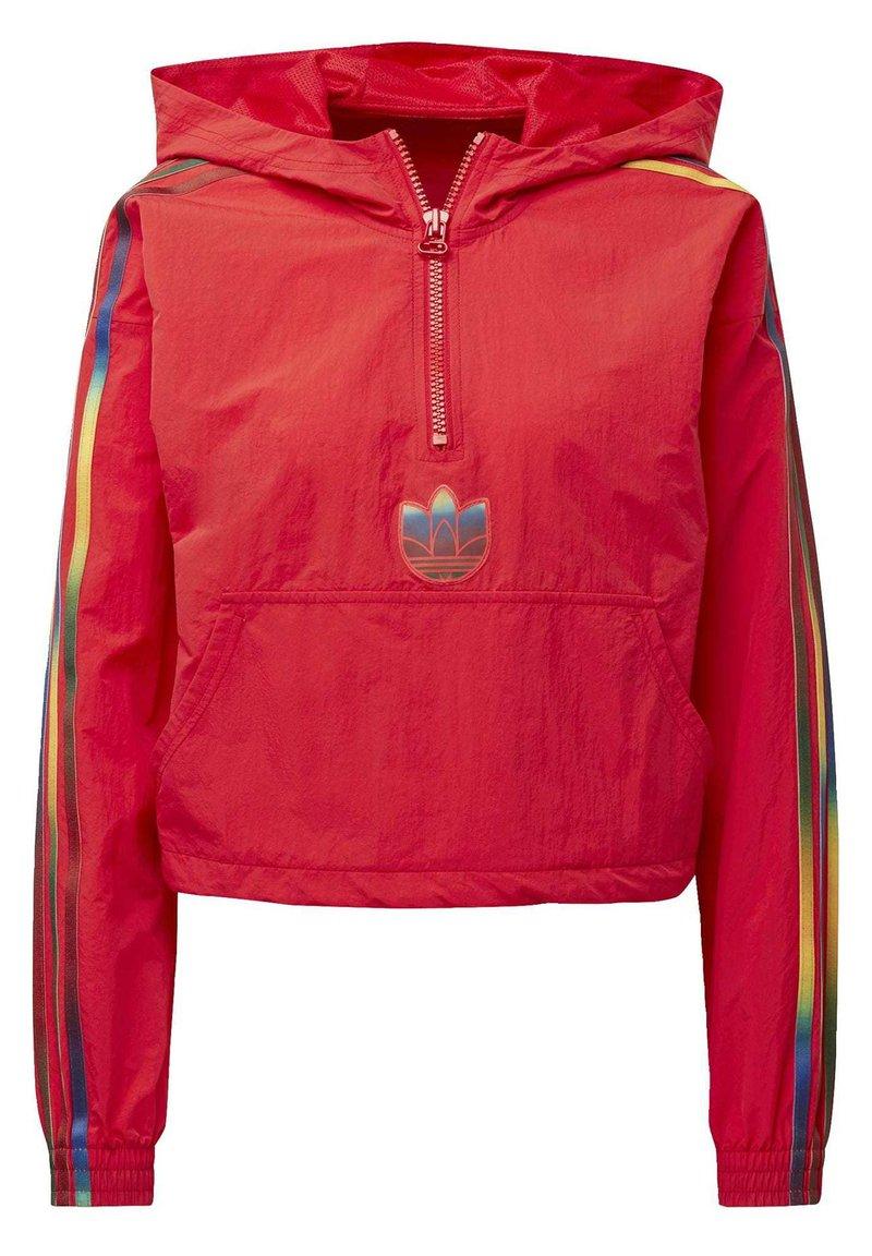 adidas Originals - ADICOLOR HALF-ZIP CROP TOP - Sweatjacke - red