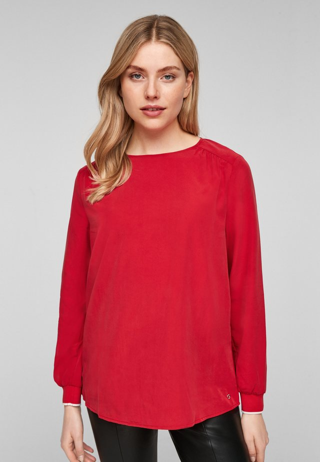 MIT RIPPBÜNDCHEN - T-shirt à manches longues - red