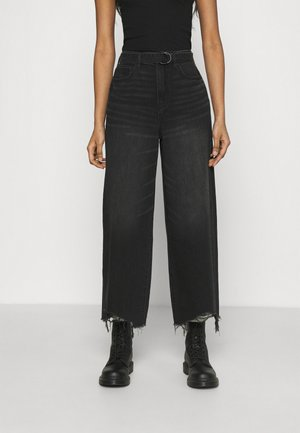 WIDE LEG CROP - Flared Jeans - destroyed black