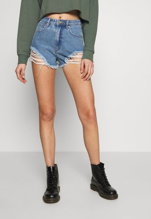A HIGH RELAXED SHORT - Jeansshort - salty blue