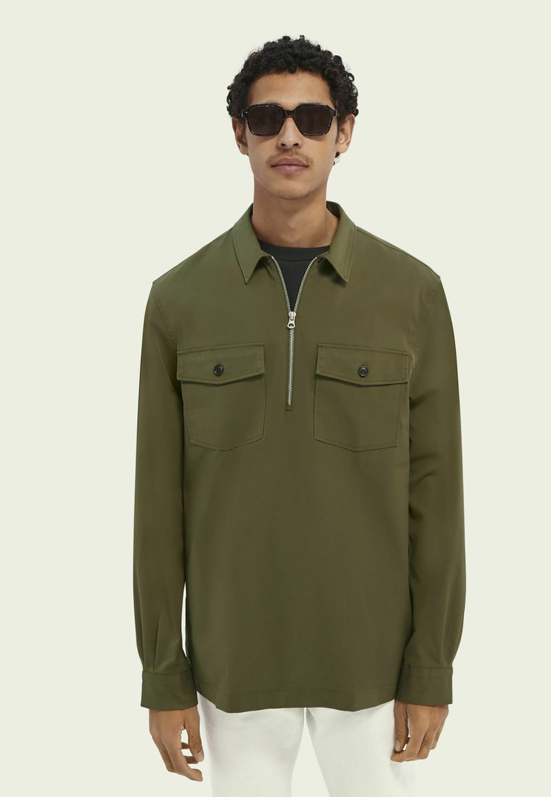 Scotch & Soda - SCOTCH & SODA ZIP-CLOSURE LOOSE-FIT SHIRT - Overhemd - army