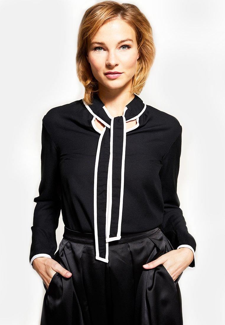 Femme TIE NECK CREPE - Blouse - black