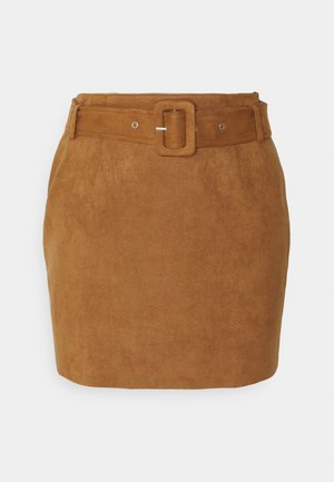 BELTED SUEDE MINI SKIRT - Minisukně - tan