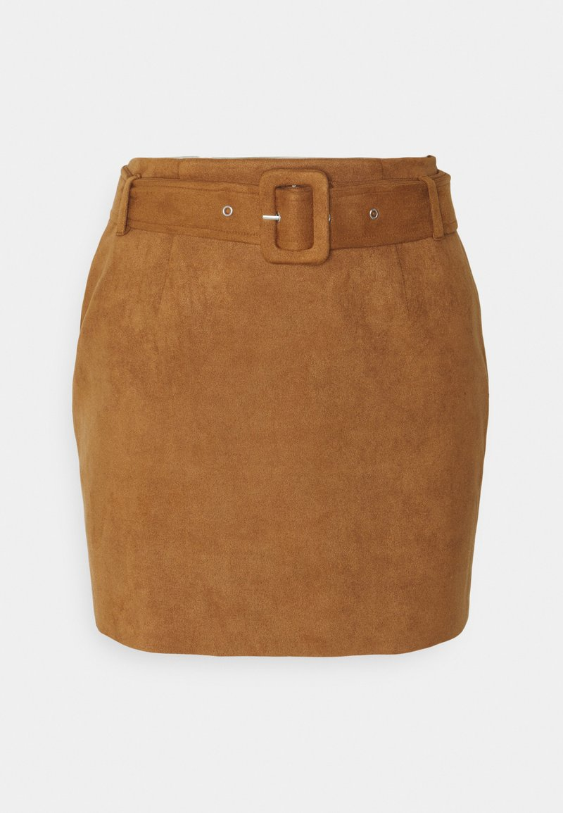 Missguided Petite - BELTED SUEDE MINI SKIRT - Mini skirt - tan