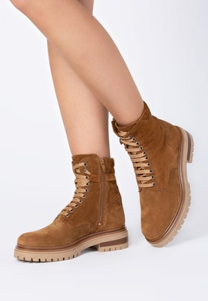 Lace-up ankle boots - tan