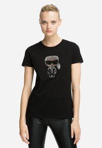 KARL LAGERFELD - IKONIK - T-shirt z nadrukiem - black - 0