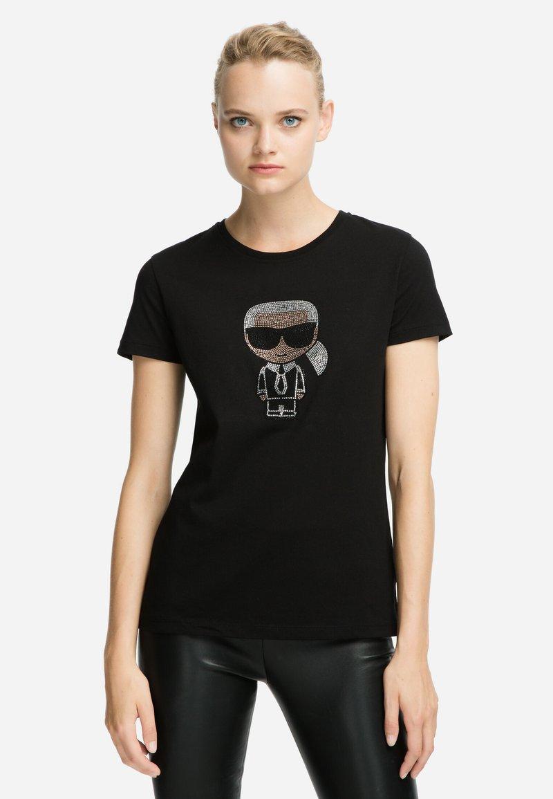 KARL LAGERFELD - IKONIK - T-shirt z nadrukiem - black