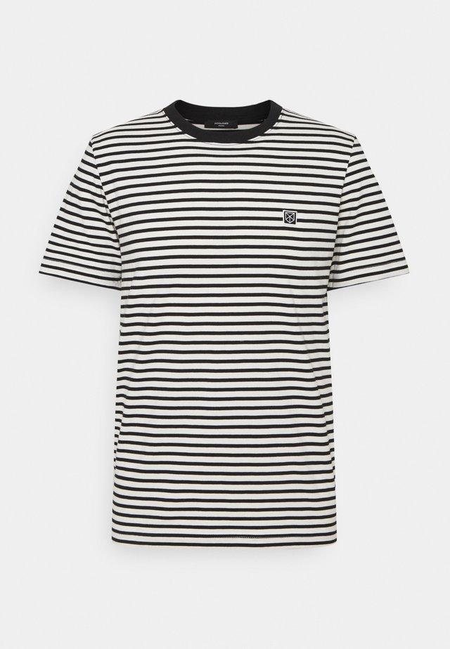 JPRBLASTUDIO TEE STRIPE - T-shirt imprimé - egret/black