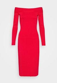Victoria Beckham - COMPACT SHINE BARDOT FITTED DRESS - Pouzdrové šaty - red - 7